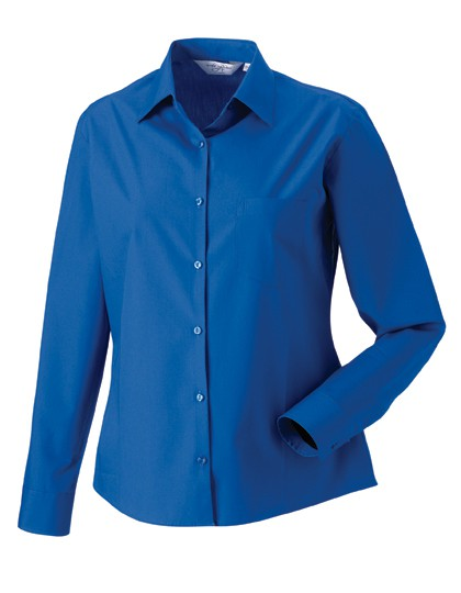 Ladies Long Sleeve Pure Cotton Poplin Blouse