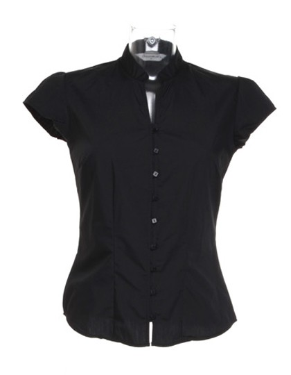 Poplin Contintental Blouse Mandarin Collar Cap Sleeve