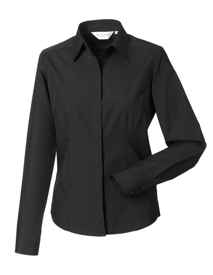 Ladies Long Sleeve Polycotton Fitted Poplin Shirt